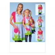 Kwik Sew Ladies, Girls & Dolls Easy Sewing Pattern 4105 Matching Aprons