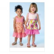 Kwik Sew Toddlers Sewing Pattern 4109 Sleeveless Dresses with Contrast Ruffles