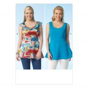 Kwik Sew Ladies Plus Size Sewing Pattern 4114 V Neck Peplum Tops