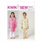 Kwik Sew Childrens Easy Sewing Pattern 4131 Dressing Gown & Pyjamas