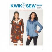 Kwik Sew Ladies Sewing Pattern 4133 Shirt & Shirt Dress with Shaped Yokes