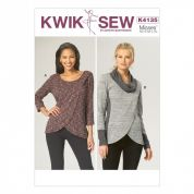 Kwik Sew Ladies Easy Sewing Pattern 4135 Overlapping Front Stretch Knit Tops