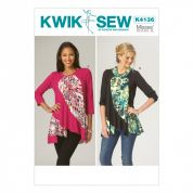 Kwik Sew Ladies Easy Sewing Pattern 4136 Diagonal Contrast Panel Tops