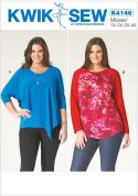Kwik Sew Ladies Plus Size Easy Sewing Pattern 4146 Pullover Stretch Knit Tops