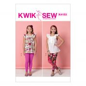 Kwik Sew Girls Easy Sewing Pattern 4153 Square Neckline Tops & Leggings
