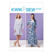 Kwik Sew Ladies Easy Sewing Pattern 4156 Elastic Waist Peasant Dresses & Sash