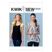 Kwik Sew Ladies Easy Sewing Pattern 4157 Scoop Neck High Low Tops