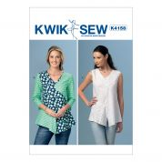 Kwik Sew Ladies Easy Sewing Pattern 4158 V Neck, Contrast Tops