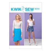 Kwik Sew Ladies Easy Sewing Pattern 4161 Shaped Overlay Skort & Skirt