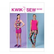 Kwik Sew Ladies Easy Sewing Pattern 4163 Sportswear Racerback Tops, Shorts & Leggings