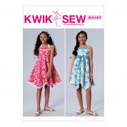 Kwik Sew Girls Easy Sewing Pattern 4167 Halter Neck Dresses & Sash