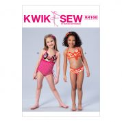 Kwik Sew Girls Sewing Pattern 4168 Swimsuit & BIkini
