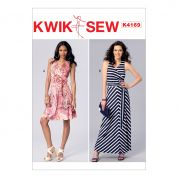 Kwik Sew Ladies Sewing Pattern 4169 Mock Wrap Dresses & Sash