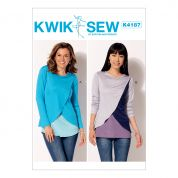 Kwik Sew Ladies Easy Sewing Pattern 4187 Tulip Overlay Jersey Knit Tops