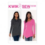 Kwik Sew Ladies Easy Sewing Pattern 4189 Diagonal Waist Seam Jersey Knit Tops