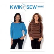 Kwik Sew Ladies Easy Sewing Pattern 4190 Long Sleeve Batwing Jersey Knit Tops