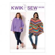 Kwik Sew Ladies Easy Sewing Pattern 4193 Lace Up & Hooded Ponchos