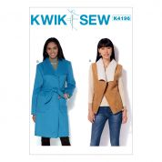 Kwik Sew Ladies Sewing Pattern 4196 Shawl Collar Waistcoat & Coat with Belt