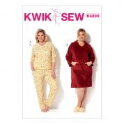 Kwik Sew Ladies Plus Size Easy Sewing Pattern 4200 Casual Top, Dress & Pants