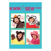 Kwik Sew Boys & Girls Easy Sewing Pattern 4202 Animal Themed Hoods & Mittens