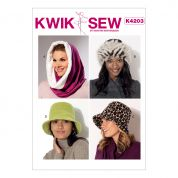 Kwik Sew Ladies Sewing Pattern 4203 Hood, Beanie & Bucket Hats