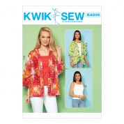 Kwik Sew Ladies Easy Sewing Pattern 4208 Open Front Loose Jackets & Tops