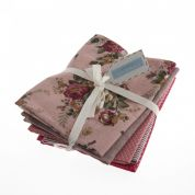 Fat Quarter Cotton & Linen Fabric Bundle  Rosy