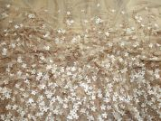 Larisa Beaded Border Couture Bridal Lace Fabric  Bronze & Ivory