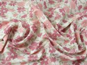 Spanish Floral Linen & Cotton Blend Dress Fabric  Pink on Ivory