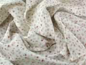 Spanish Miniature Floral Linen & Cotton Blend Dress Fabric  Pink on Ivory