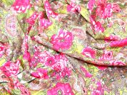 John Kaldor Floral Print Cotton Dress Fabric  Pink & Green