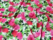 John Kaldor Floral Print Cotton Sateen Dress Fabric  Pink & Red