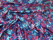John Kaldor Floral Print Cotton Sateen Dress Fabric  Pink & Blue