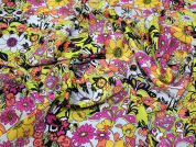 Lady McElroy Dovetail Florette 100% Silk Crepe De Chine Dress Fabric  Multi