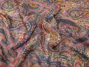 Lady McElroy Persian Paisley 100% Silk Crinkle Chiffon Dress Fabric  Multi