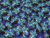 Lady McElroy Flower Burst Stretch Jersey Knit Dress Fabric  Blue & Turquoise