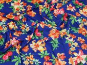 Lady McElroy Floral Jersey Knit Fabric  Royal Blue