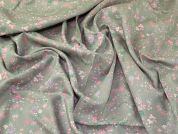 Lady McElroy Brushed Cotton Twill Fabric  Pink on Grey