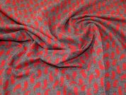 Lady McElroy Reversible Jacquard Coating Fabric  Red & Grey