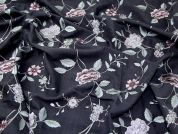Lady McElroy Embroidered Silk Dupion Fabric  Charcoal