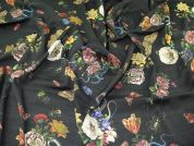 Lady McElroy Florenza Crepe Linen Look Fabric  Black