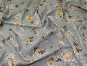 Lady McElroy Florenza Crepe Linen Look Fabric  Duck Egg