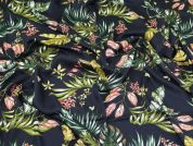 Lady McElroy Leaf Viscose Dobby Fabric  Navy Blue