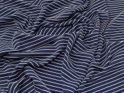 Lady McElroy Stripe Jersey Knit Fabric  Navy Blue