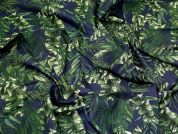 Lady McElroy Tropical Cotton Lawn Fabric  Navy & Green