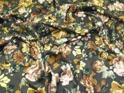 Lady McElroy Floral Stretch Corduroy Fabric  Grey Multi