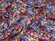 Lady McElroy Floral Linen Viscose Fabric  Multicoloured