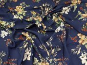 Lady McElroy Floral Viscose Crepe Fabric  Navy Blue