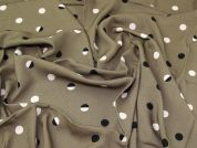 Lady McElroy Spotty Stretch Crepe Fabric  Taupe