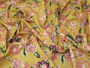 Lady McElroy Floral Cotton Lawn Fabric  Pink & Mustard